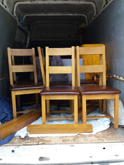 Chairs in the back of van