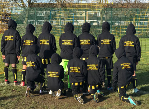 Radley United under 11's Football Team showing new kit sponsored by Shifters of Oxford